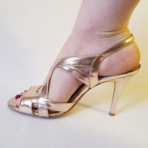 Nine West rose gold strappy Angelina heels